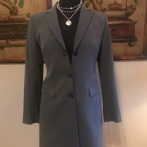 Heather gray suit w/ long equestrian style jacket